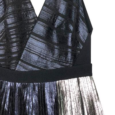 shimmer pleats dress black